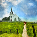 Woman In Lace By A Country Church by Jill Battaglia