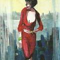 Woman In Red Dress By Condo Window by Harry  Weisburd