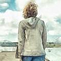 Woman In Rustico Harbor Prince Edward Island by Edward Fielding