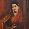Woman In Saree - After Raja Ravi Varma by Usha Shantharam