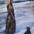 Woman In Snow With Crow by Katt Yanda