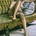 Woman On Green Sofa by John Clum