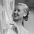 Woman Peeking Out Of Shower, C.1950s by Debrocke ClassicStock