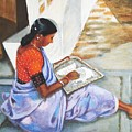 Woman Picking Rice by Usha Shantharam