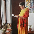 Woman Reading A Letter by Kevin Hopkins