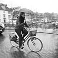Woman Riding In The Raing by David Ortega Baglietto