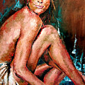 Woman Sitting by Claudia Lardizabal