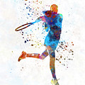 Woman Tennis Player 03 In Watercolor by Pablo Romero