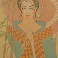 Woman Under The Bamboo Umbrella by Gary Kaemmer