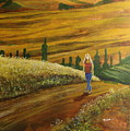 Woman Walking In Greek Countryside by William Tremble