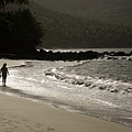 Woman Walking On A Deserted Beach by Tim Laman