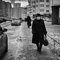 Woman Walking On Path In Russia by John Williams