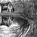 Woman Walking To Old House by Jill Battaglia