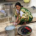 Woman Washing Clothes In Khajuraho Village by Aivar Mikko