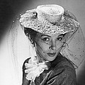 Woman Wearing A Hat & Veil by Underwood Archives