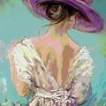 Woman Wearing A Purple Hat by AmaS Art