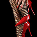 Woman Wearing Red Sexy High Heels by Oleksiy Maksymenko