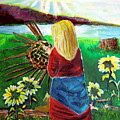 Woman Weaves A Basket By The Lake At Sunset by Mindy Newman
