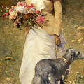 Woman With A Dog by Ferdinand Heilbuth