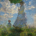 Woman With A Parasol, Madame Monet And Her Son, Claude Monet Digitally Enhanced by Claude Monet
