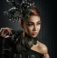Woman With Black Metallic Headdress by Erich Caparas