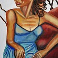 Woman With Curly Hair by Keith Bagg