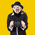 Woman With Electronic Calculator by Jorgo Photography - Wall Art Gallery
