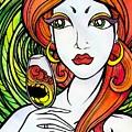 Woman With Glass by Darya Lavinskaya