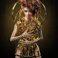 Woman With Messy Curl Updo In Golden Attire by Erich Caparas