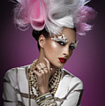 Woman With Pink And White Headpiece In White Dress by Erich Caparas