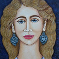 Woman With Silver Earrings by Madalena Lobao-Tello