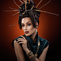 Woman With Twig Headdress And Oriental Look by Erich Caparas