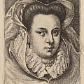 Woman With White Veil And Black Hat (mary Stuart?) by Wenceslaus Hollar