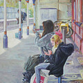 Women Texting On Christchurch Station by Martin Davey