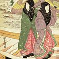 Women Walking Over A Bridge In Snow by Hiroshige