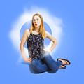 Womens Fashion Pinup Model On Blue Studio Lights by Jorgo Photography - Wall Art Gallery