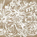 Wood And White Floral- Art By Linda Woods by Linda Woods