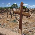 Wood Crosses In Taos Cemetery by Elizabeth Rose
