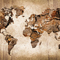 Wood World Map by Delphimages Photo Creations
