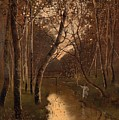 Wooded Landscape With Angler On The Riverside by Mountain Dreams