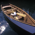 Wooden Boat And Paddles In Halibut Cove by Rich Reid