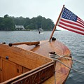 Wooden Boat And Pentwater Channel by Michelle Calkins