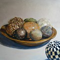 Wooden Bowl With Spheres by Yvonne Ayoub