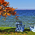Wooden Chairs On Autumn Lake by Elena Elisseeva