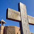Wooden Cross And Penitente Church by Buddy Mays