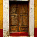 Wooden Door With White Trim by Mexicolors Art Photography