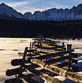 Wooden Fence And Sawtooth Mountain Range by Vishwanath Bhat