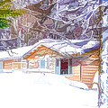 Wooden House In Winter Forest by Jeelan Clark