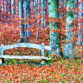 Wooden Park Bench In Dry Leaves  by Jeelan Clark