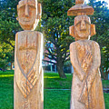 Wooden Sculptures In Central Park In Bariloche-argentina by Ruth Hager